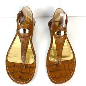 Michael Kors Thong Flat Sandals Embossed Leather